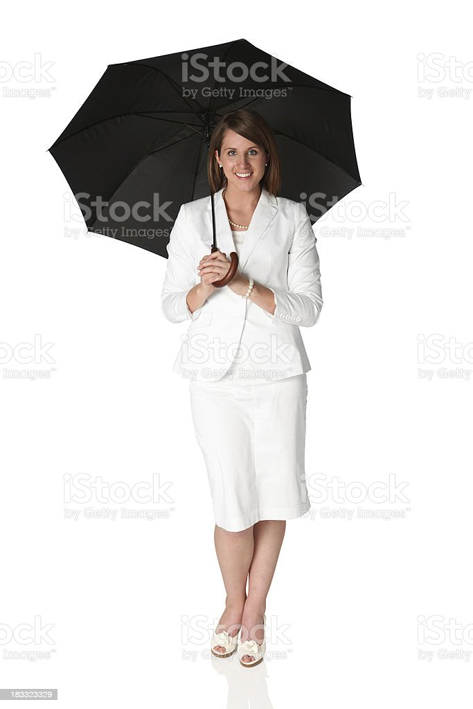 Businesswoman holding an umbrella royalty-free stock photo