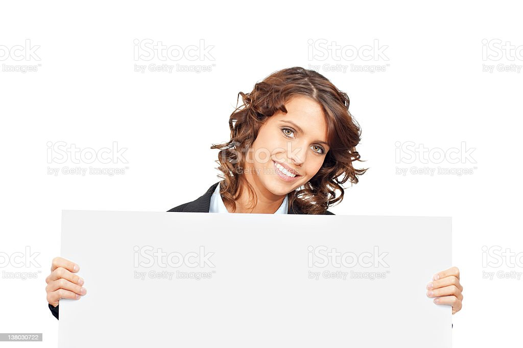 Businesswoman holding blank paper royalty-free stock photo