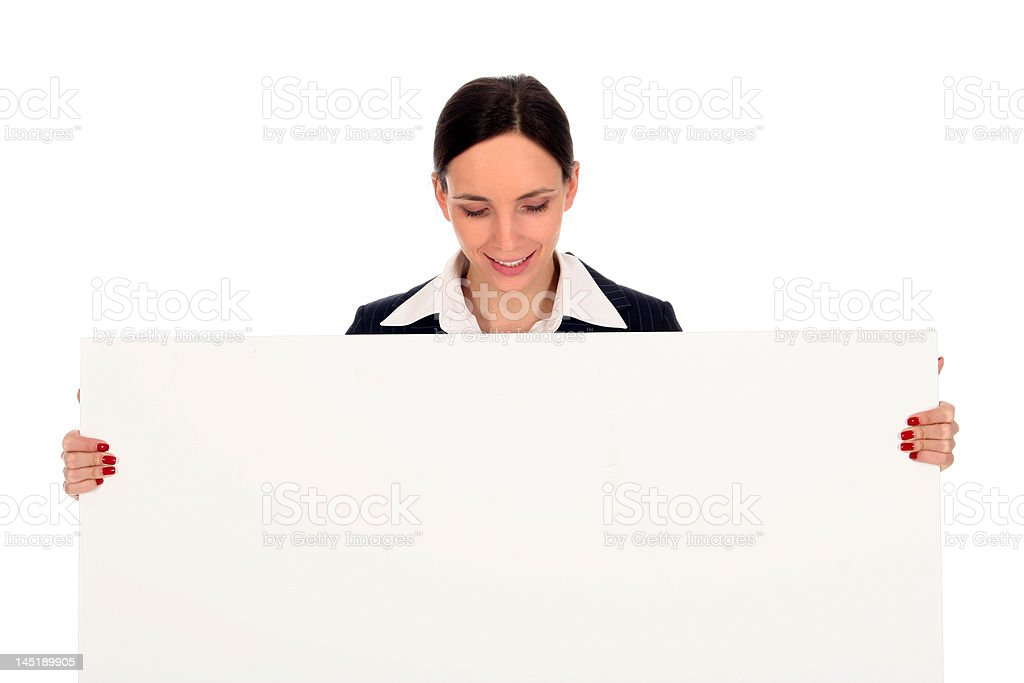Businesswoman holding blank poster royalty-free stock photo