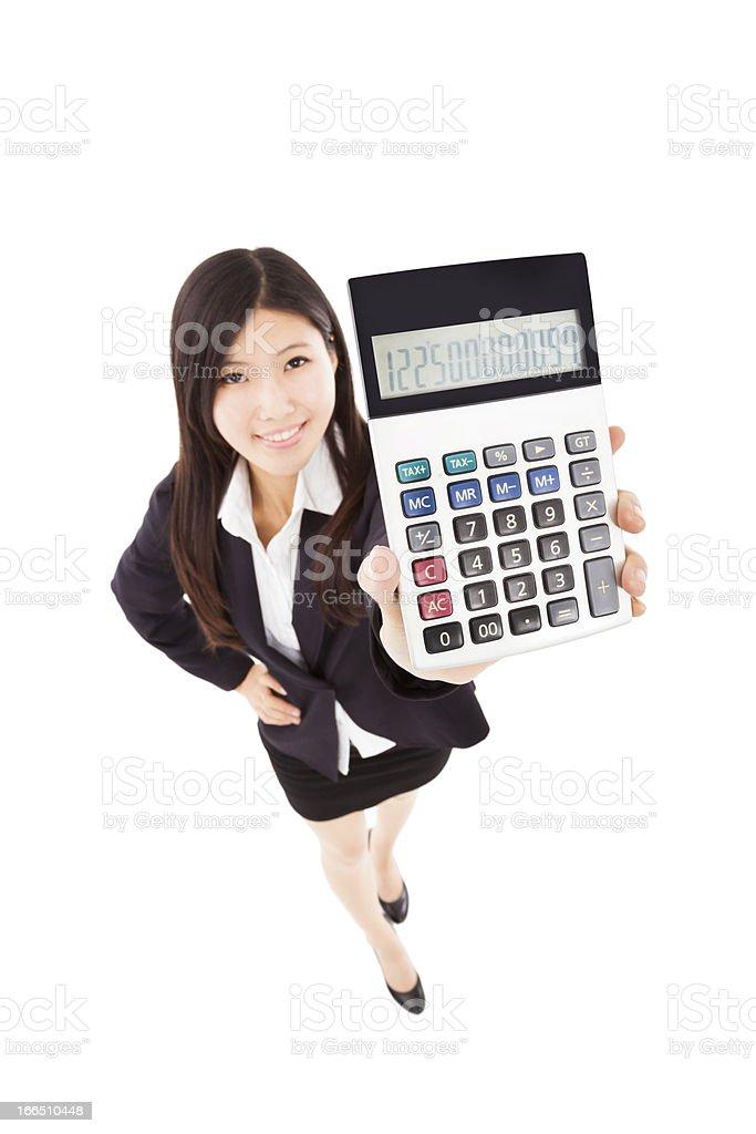 businesswoman holding calculator royalty-free stock photo