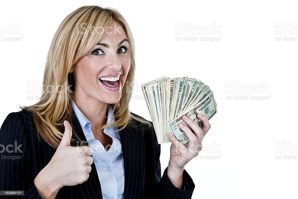 Businesswoman holding cash royalty-free stock photo