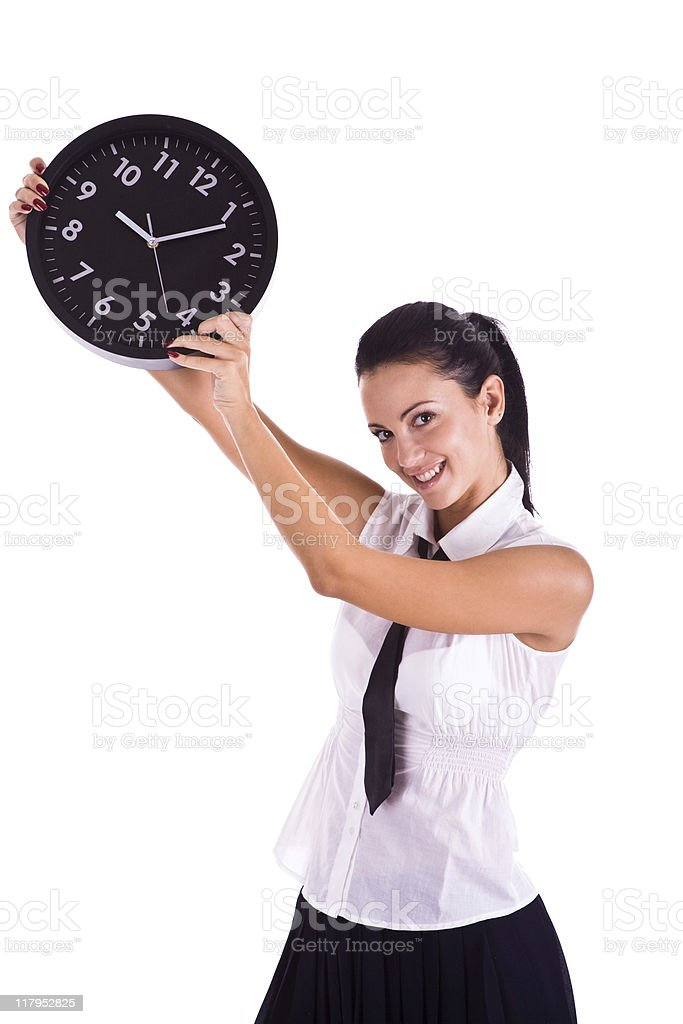 Businesswoman holding clock royalty-free stock photo
