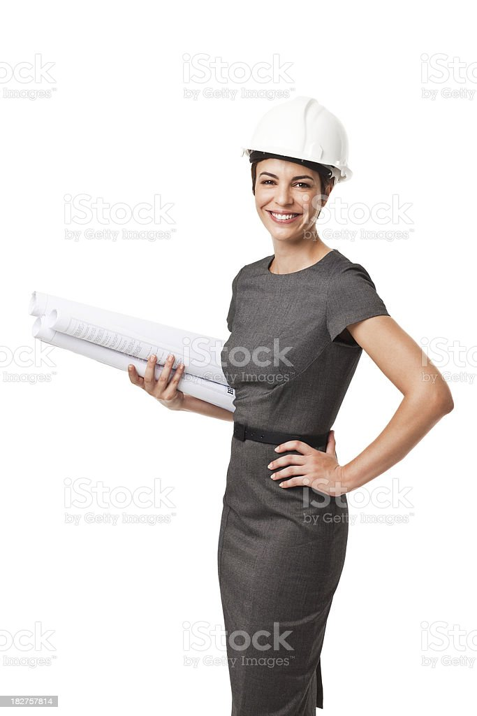 Businesswoman Holding Construction Plans Isolated on White royalty-free stock photo