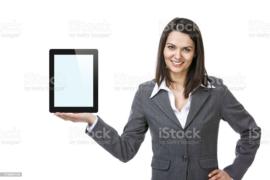 Businesswoman holding digital tablet computer royalty-free stock photo
