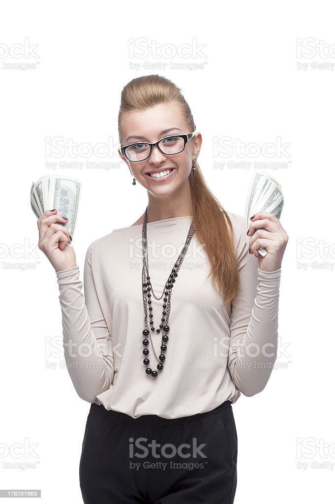 businesswoman holding money royalty-free stock photo
