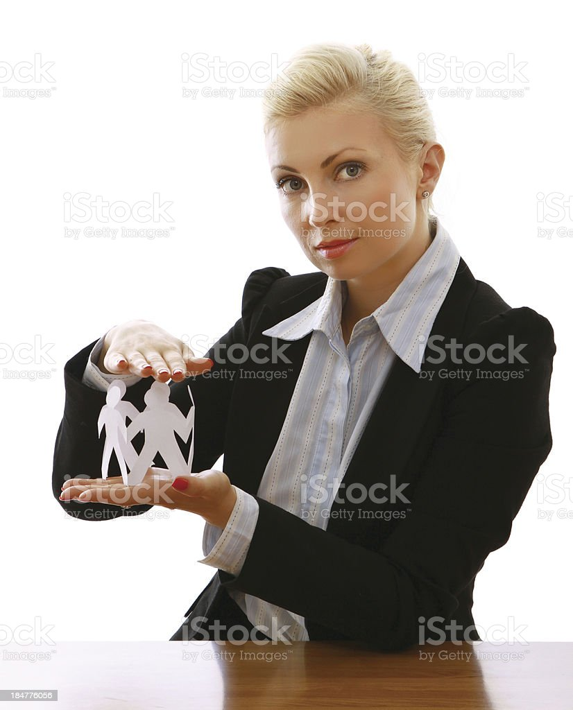 businesswoman holding paper people royalty-free stock photo