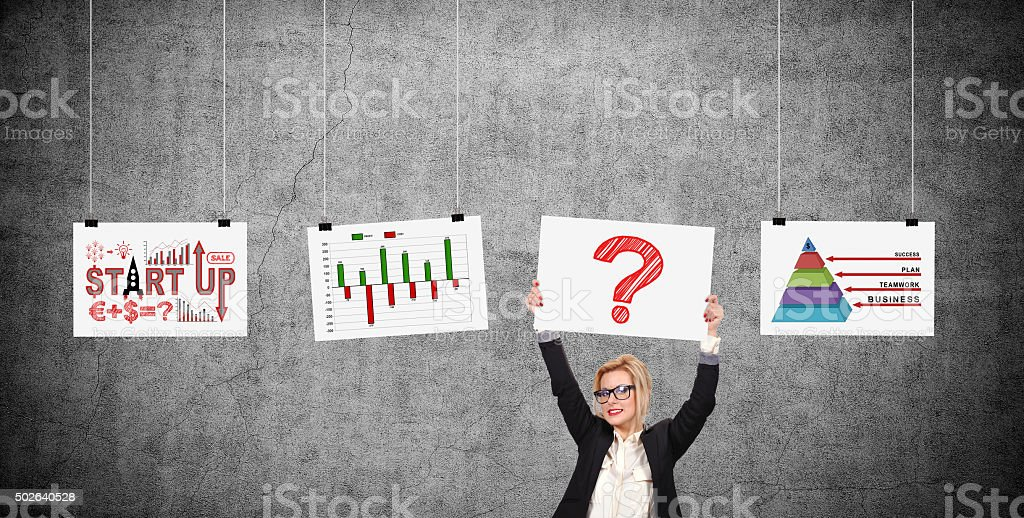 Businesswoman holding placard with drawing question mark stock photo
