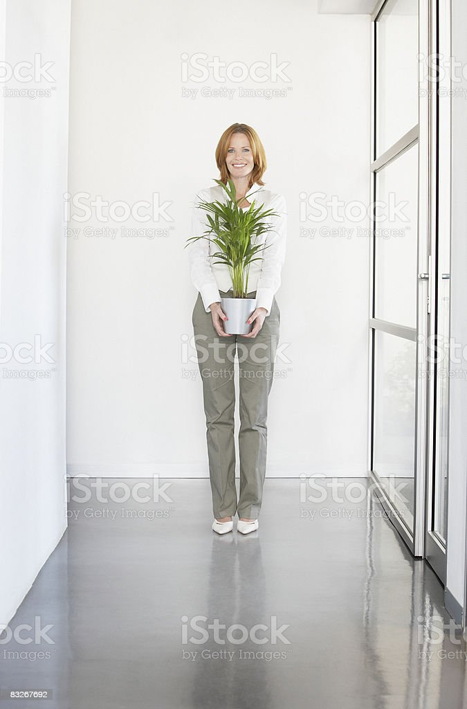 Businesswoman holding plant in office royalty-free stock photo