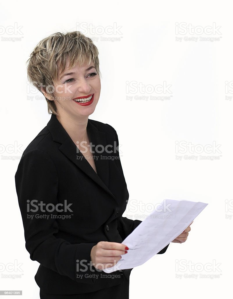 A businesswoman holding some paperwork  royalty-free stock photo