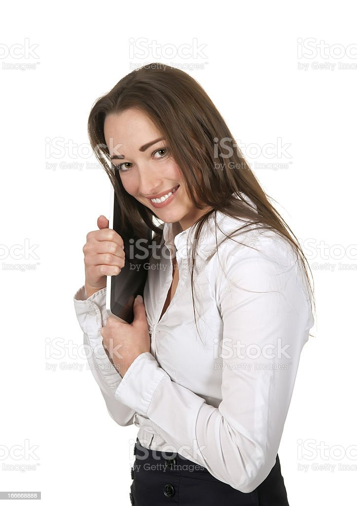 businesswoman holding tablet pc royalty-free stock photo