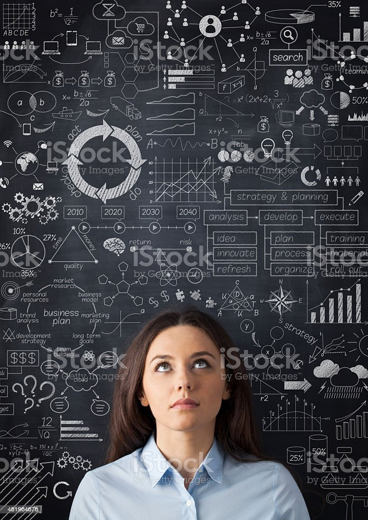 Businesswoman idea concept on blackboard stock photo