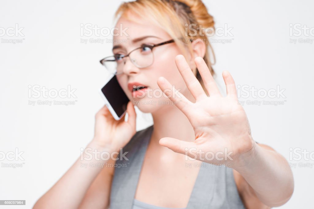 Businesswoman important phone call, don't disturb stock photo