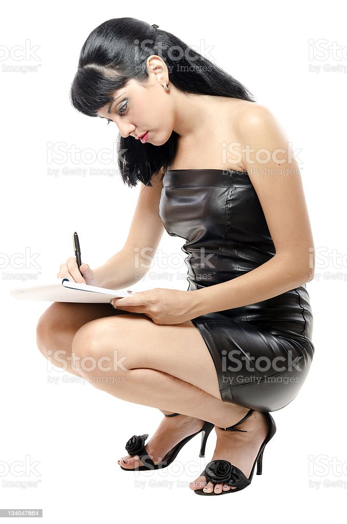 Businesswoman in a hurry stock photo