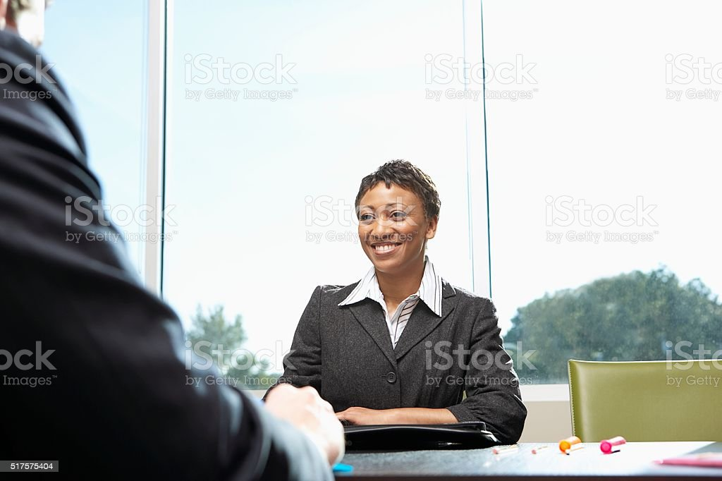 Businesswoman in a meeting stock photo