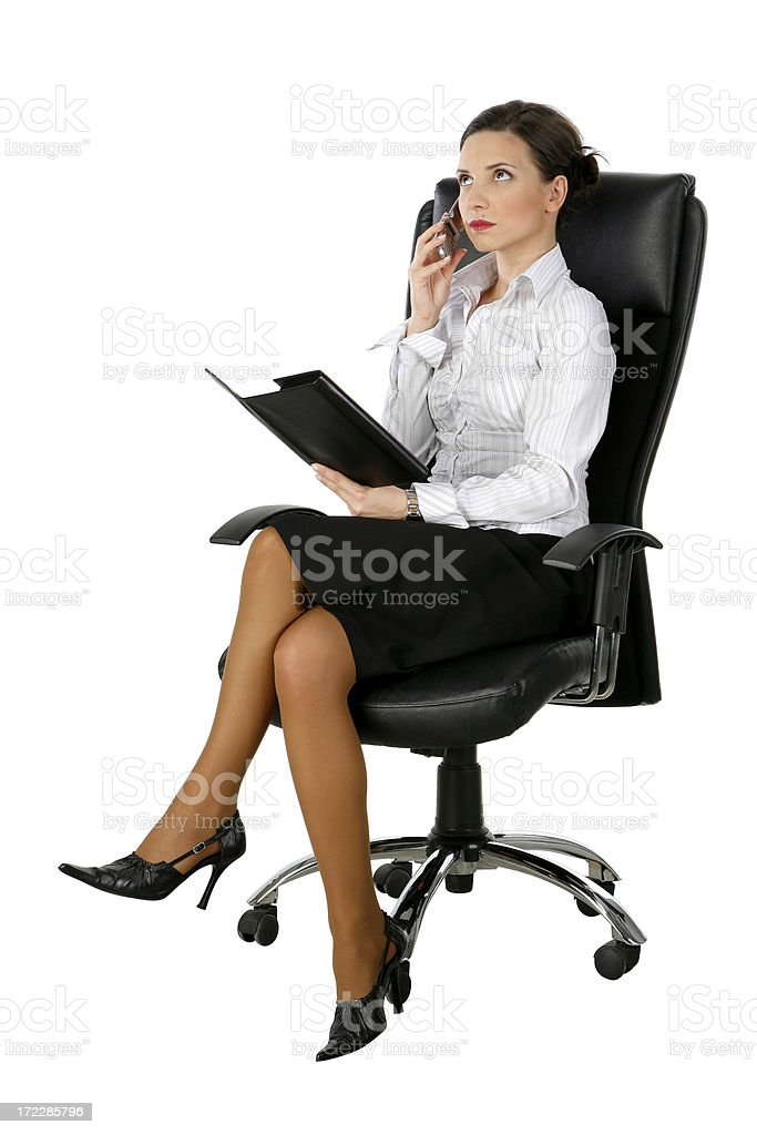 businesswoman in black suit on white background royalty-free stock photo