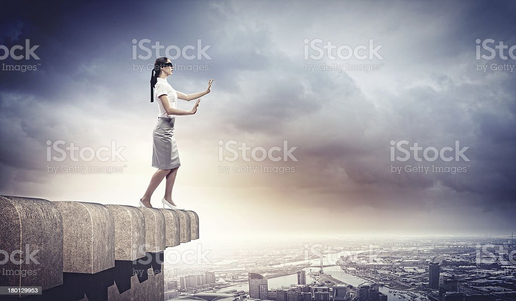 Businesswoman in blindfold royalty-free stock photo