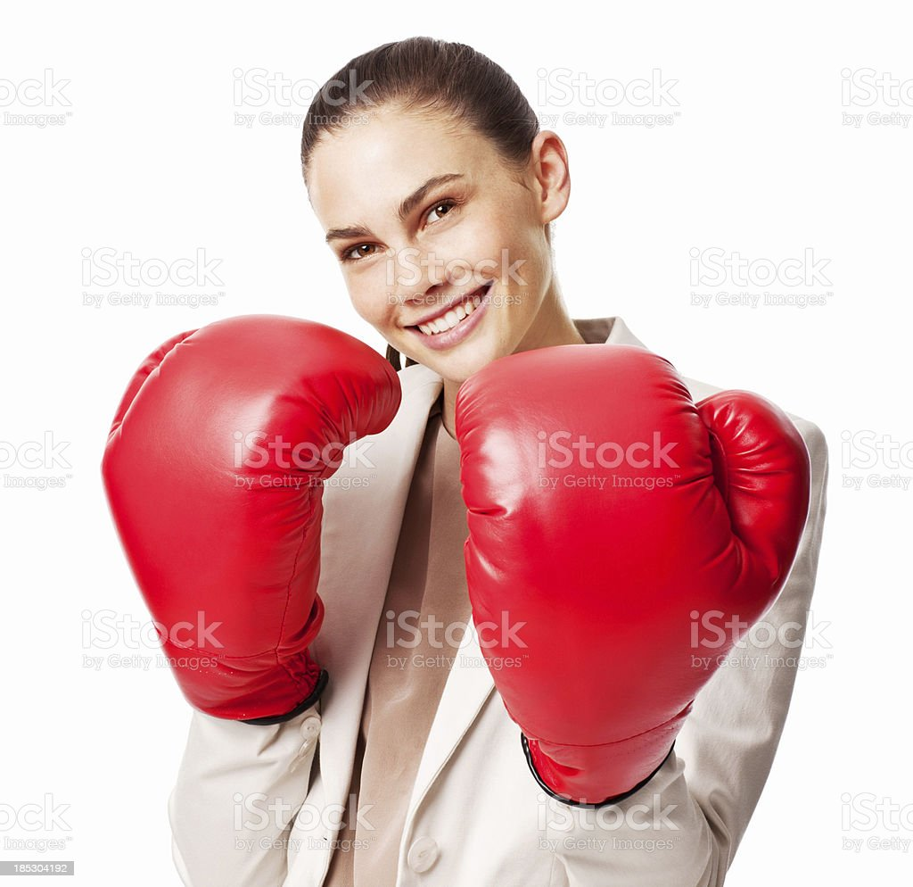 Businesswoman in Boxing Gloves - Isolated stock photo