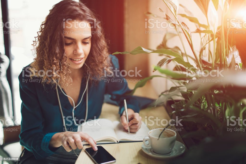 Businesswoman In Cafe stock photo
