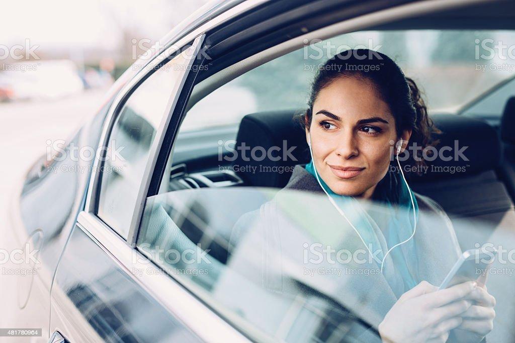 Businesswoman in Car stock photo
