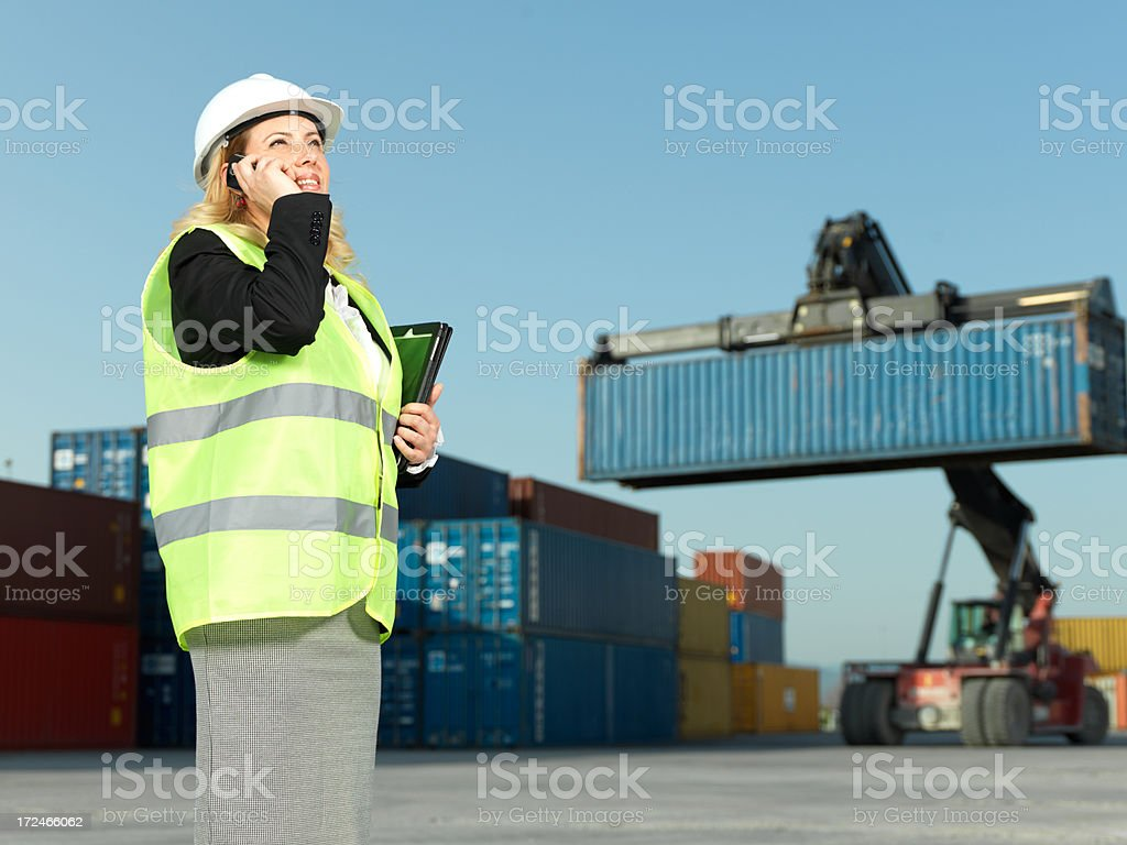 Businesswoman in Container Park royalty-free stock photo