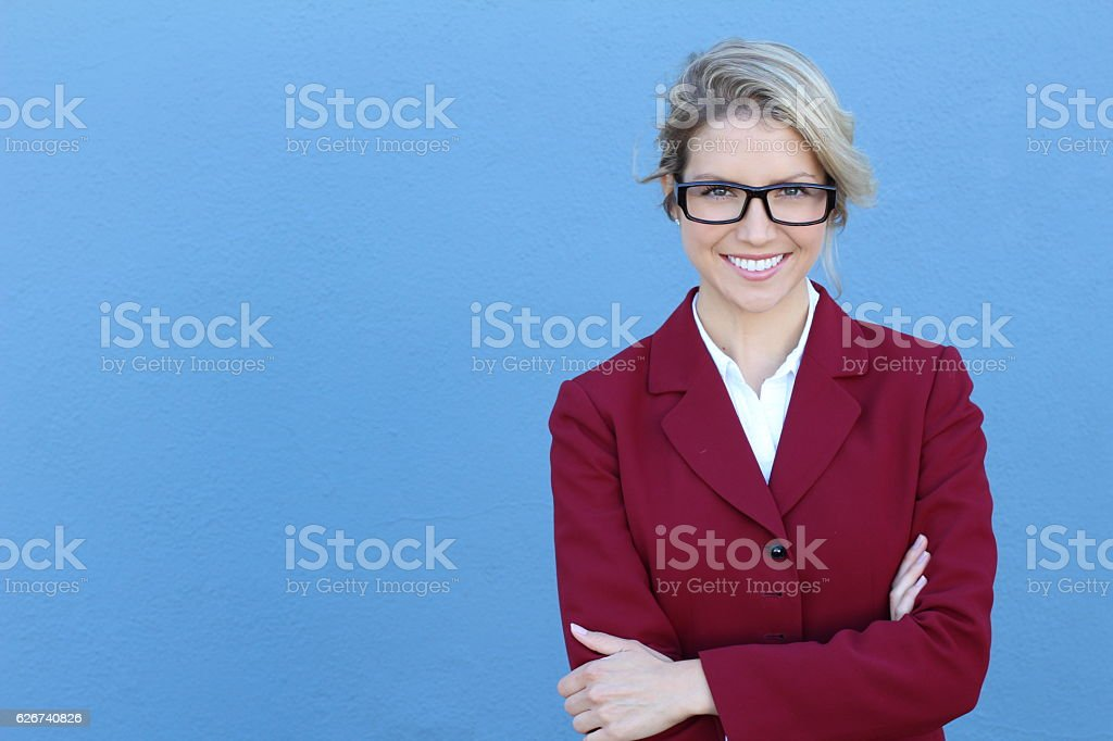 Businesswoman in glasses with PERFECT SMILE stock photo