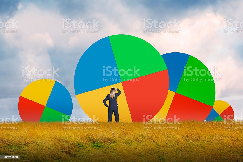 Businesswoman In Grassy Field Looking At Pie Charts stock photo