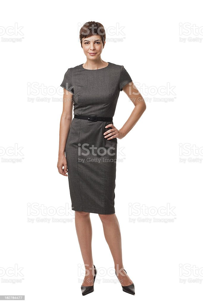 Businesswoman in Gray Dress Isolated on White stock photo