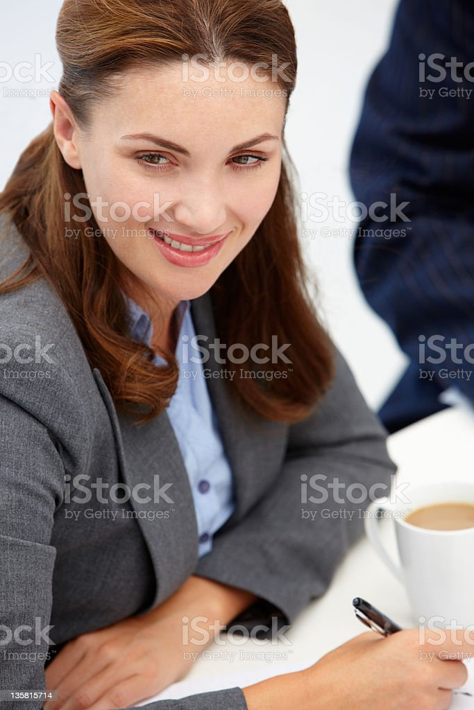 Businesswoman in meeting royalty-free stock photo
