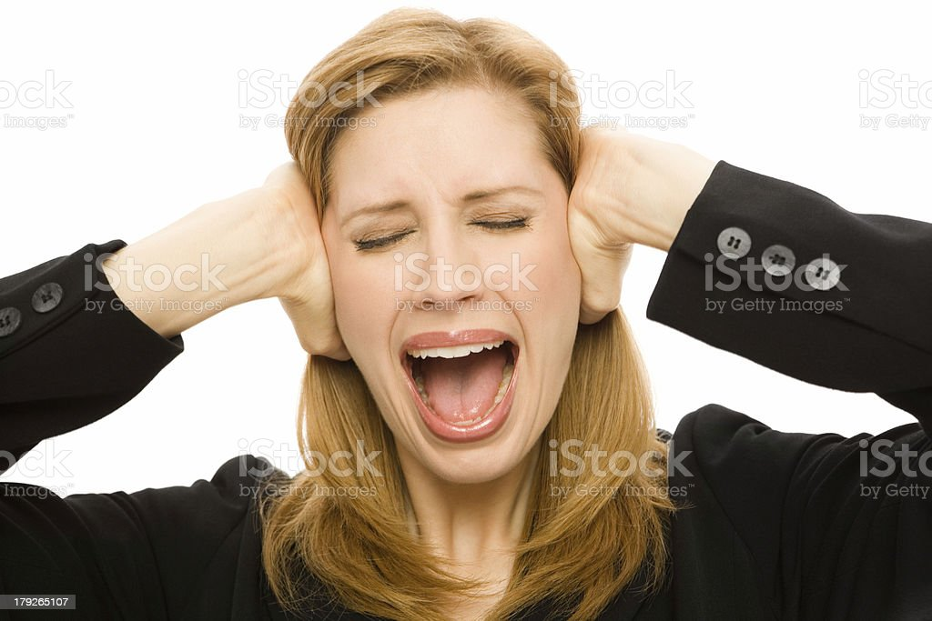 Businesswoman in shock royalty-free stock photo