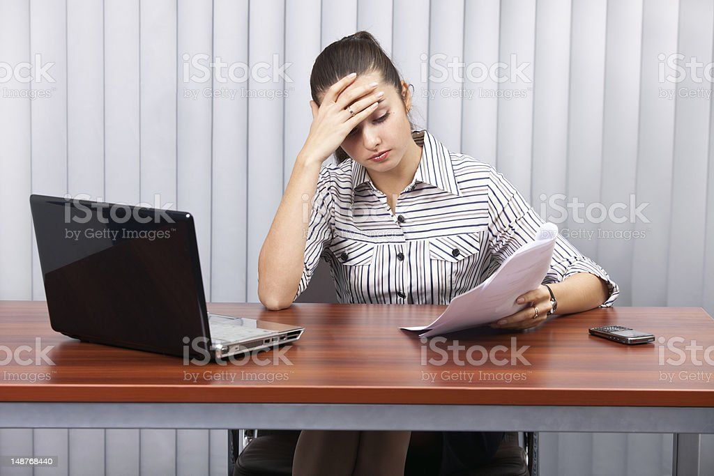 businesswoman in stress royalty-free stock photo