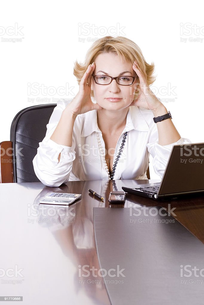 businesswoman in stress two royalty-free stock photo