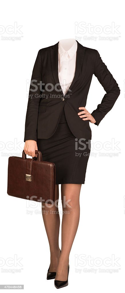 Businesswoman in suit without head, standing and holding briefcase. Isolated stock photo