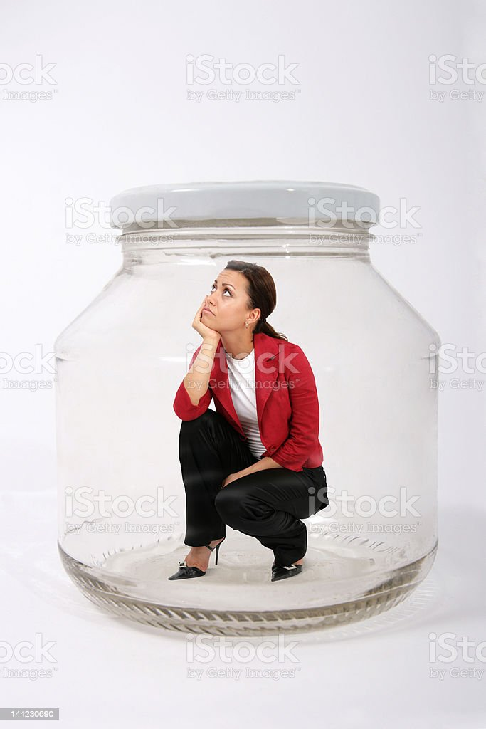 businesswoman in the jar royalty-free stock photo