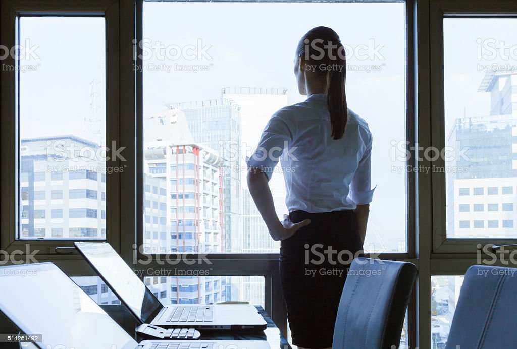 Businesswoman in the office stock photo