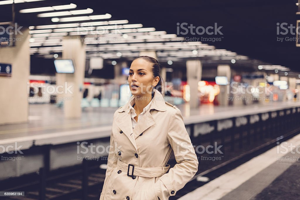 Businesswoman in the subway stock photo
