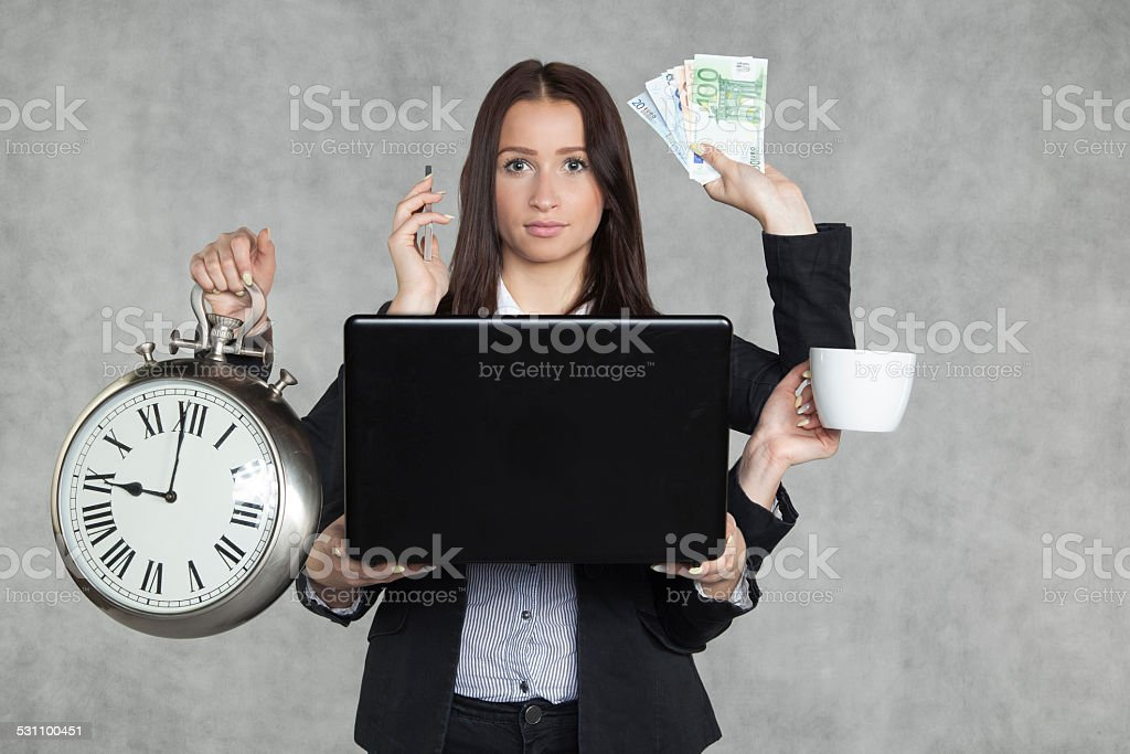 businesswoman is very multitasking stock photo