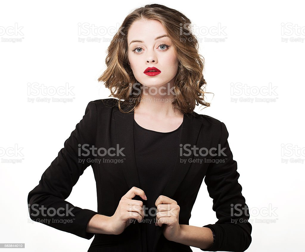 Businesswoman isolated on white background. Caucasian business woman in suit stock photo