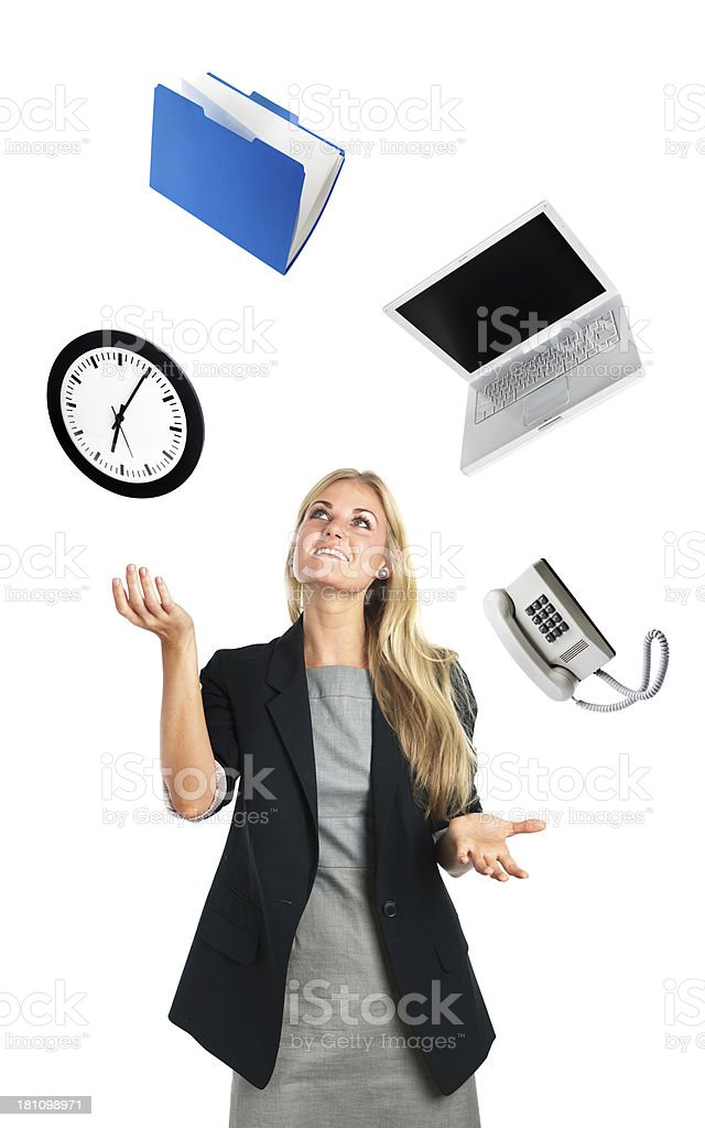 Businesswoman Juggling Act of Busy Work life stock photo