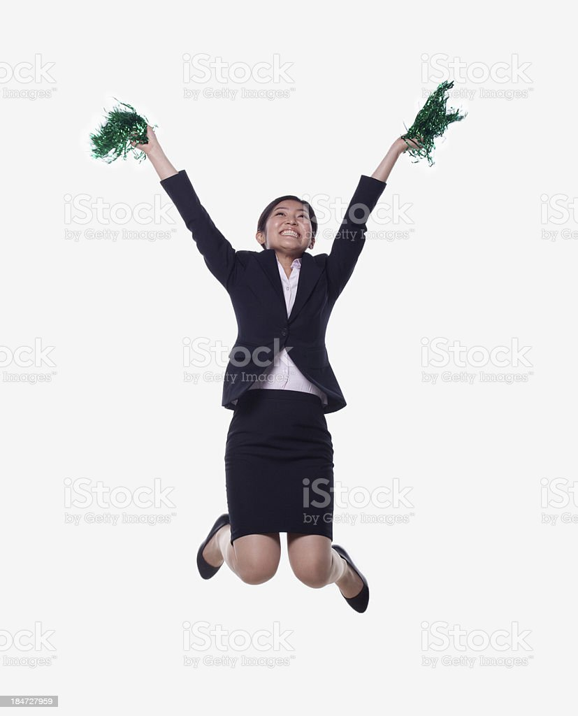 Businesswoman Jumping and Cheering royalty-free stock photo