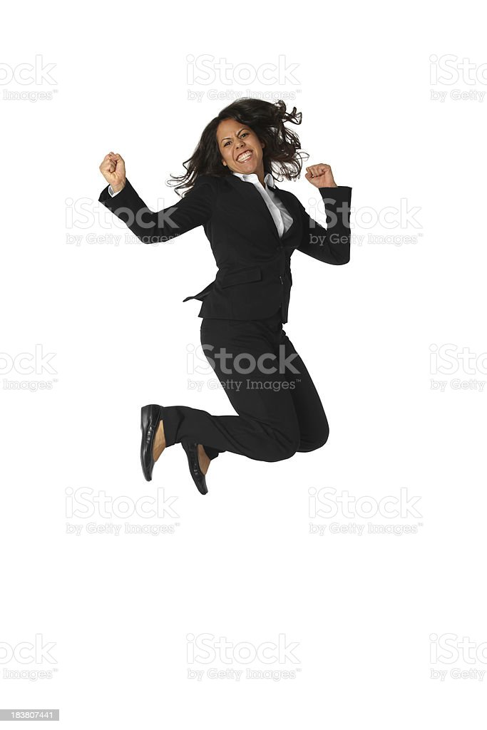 Businesswoman jumping in excitement royalty-free stock photo
