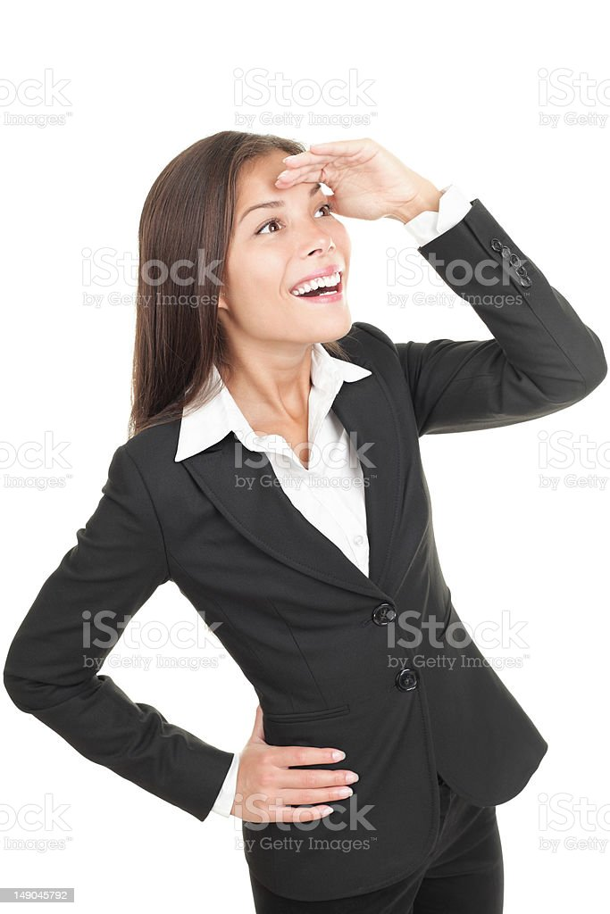 Businesswoman looking ahead (away) with anticipation stock photo