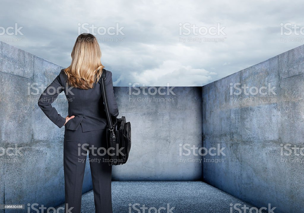 Businesswoman Looking At A Dead End stock photo