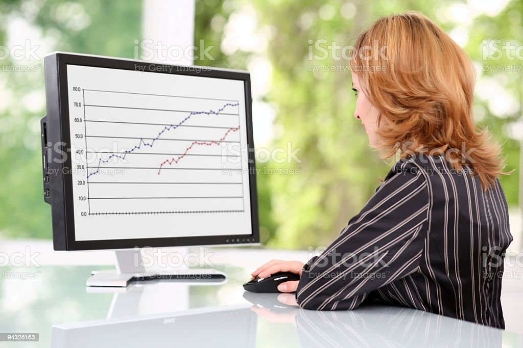 Businesswoman looking at monitor. royalty-free stock photo