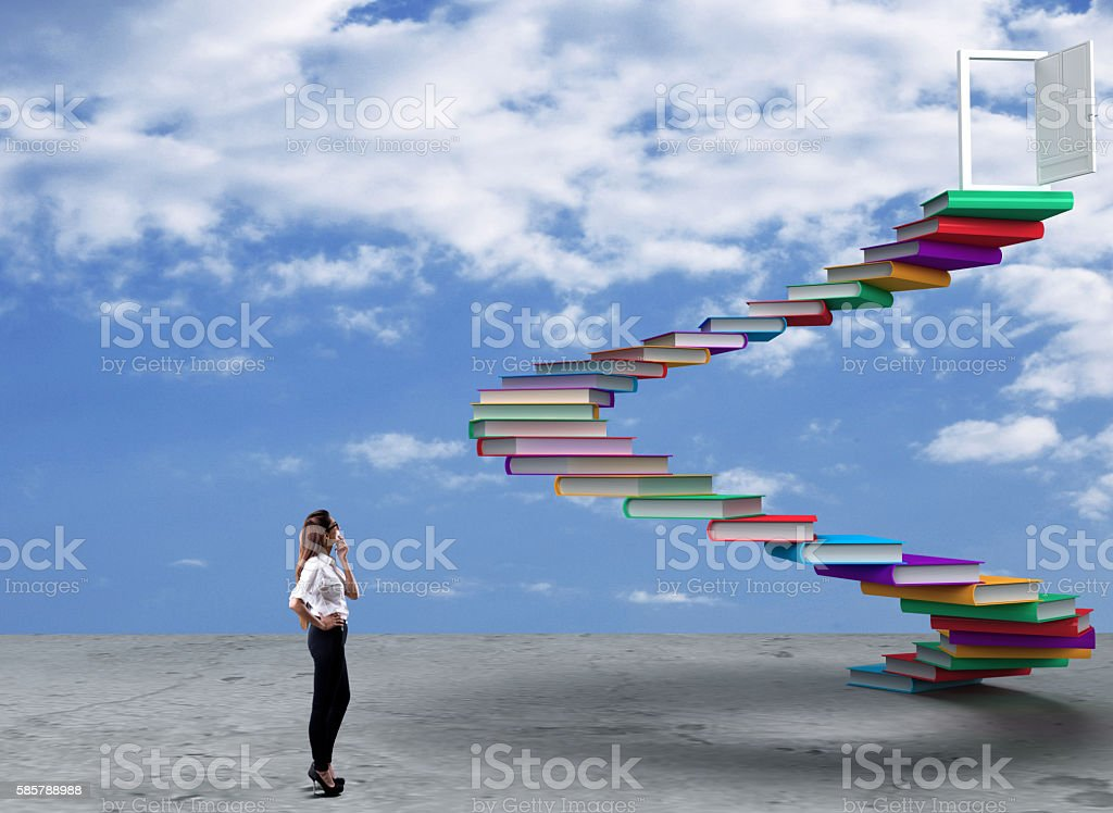 Businesswoman looking at opportunity stock photo