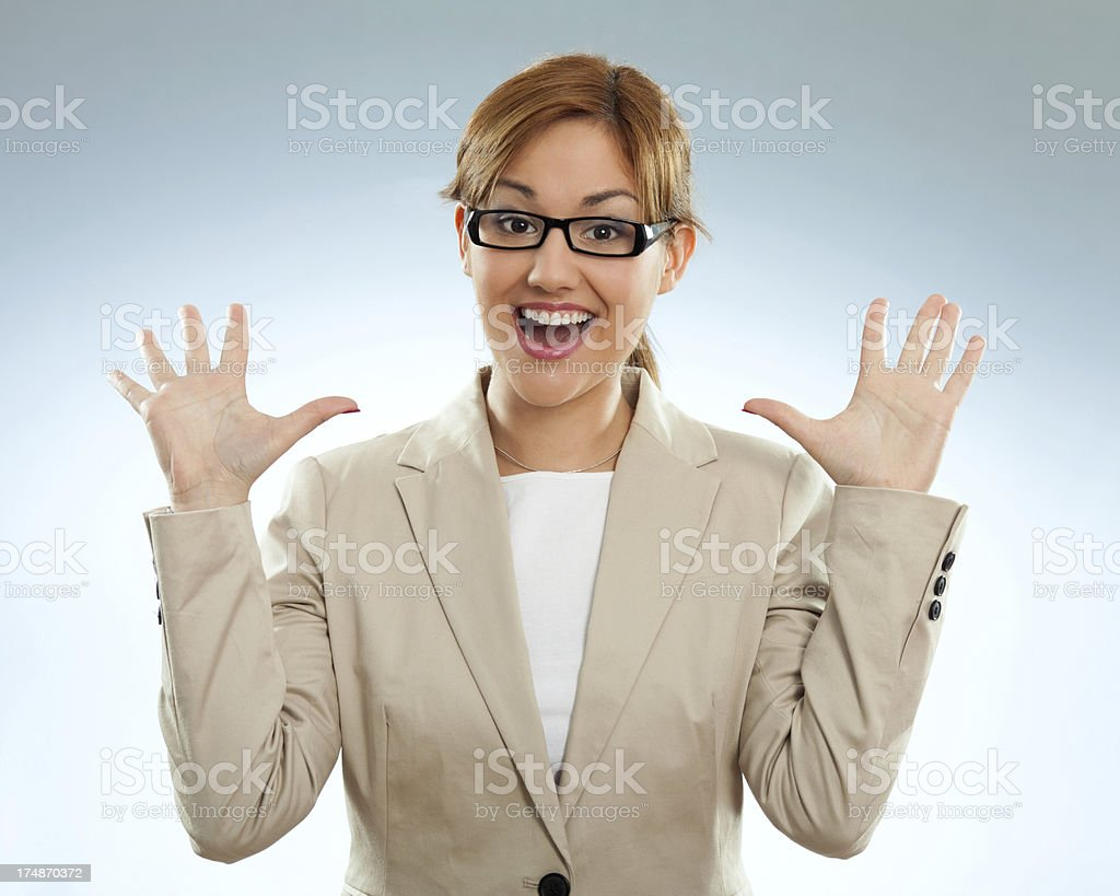 Businesswoman looking excited royalty-free stock photo