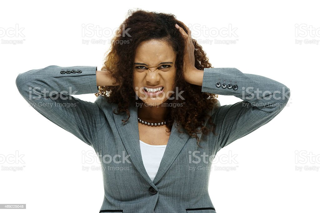 Businesswoman looking frustration stock photo