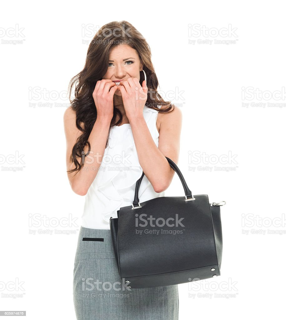 Businesswoman looking nervous stock photo