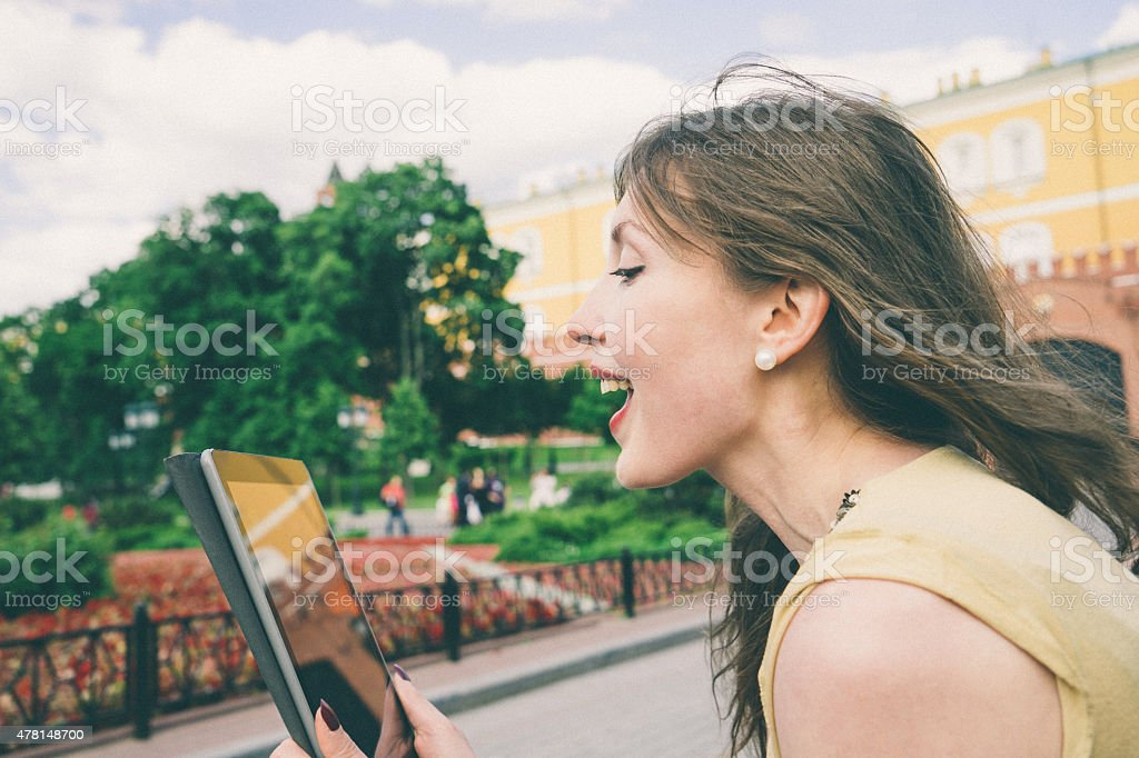 Businesswoman Making A Video Call Using Tablet stock photo