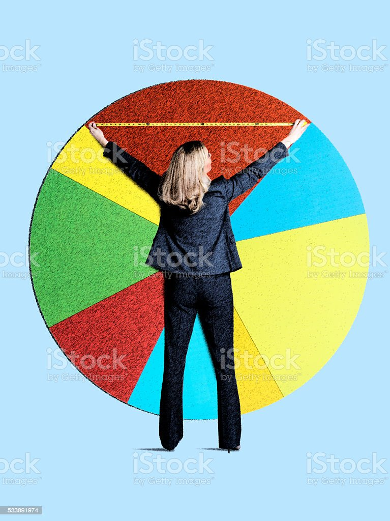 Businesswoman Measuring Her Piece Of The Pie stock photo
