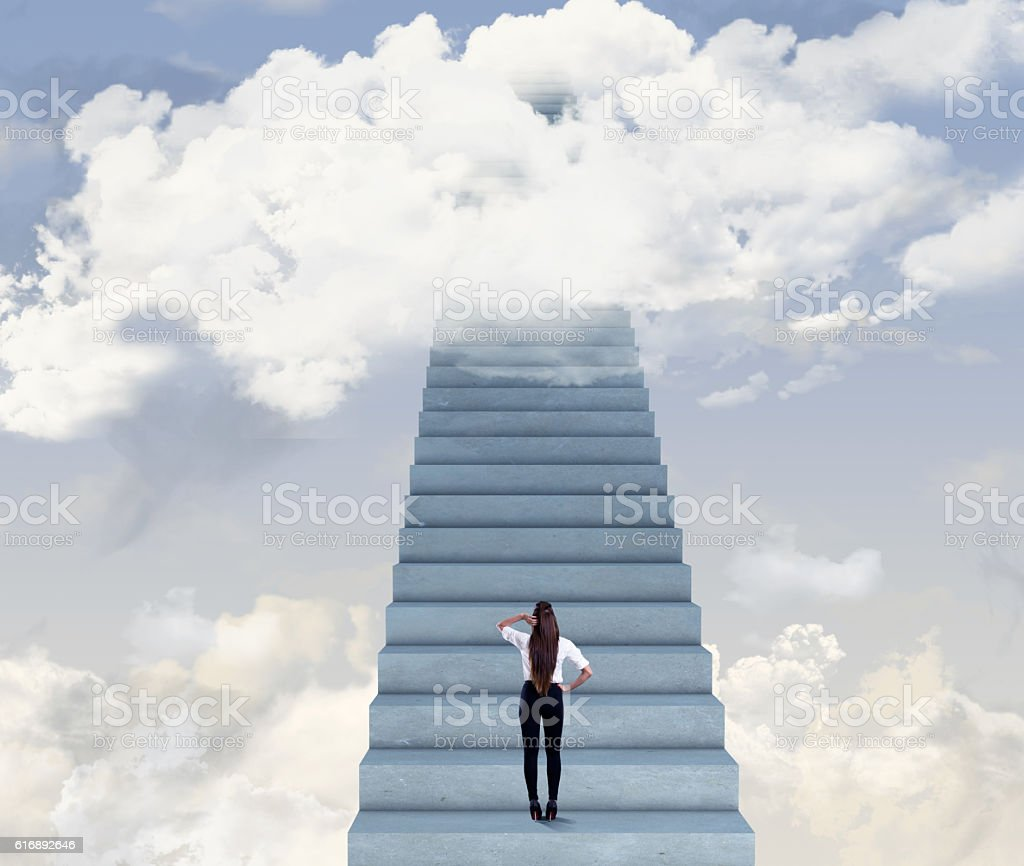 Rear view of a businesswoman standing on staircase. Woman is going up...